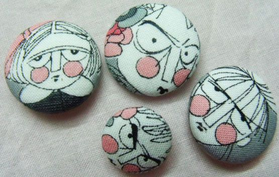 Handmade Fabric Covered Button Set OR Ponytail Holders - Girls of Ghastlie. $11.00, via Etsy.