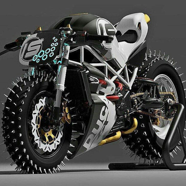 "takesabeating: "" red-faced-wolf: "" rhubarbes: "" Paolo Tesio Texdesign More bikes here. "" @takesabeating "" Is this like some deranged Ducati built for ice racing or for the end of civilization? """