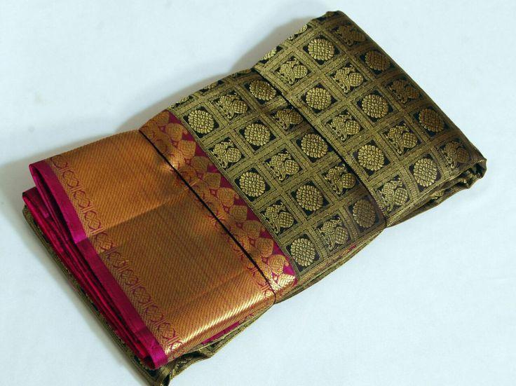 Ebony black Traditional Kanjeevaram Silk Saree