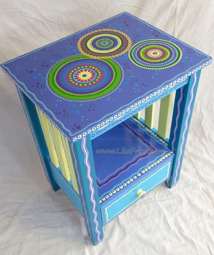 SOLD sample of CUSTOM WORK-Custom Painted End Table With Drawer by LisaFrick on Etsy