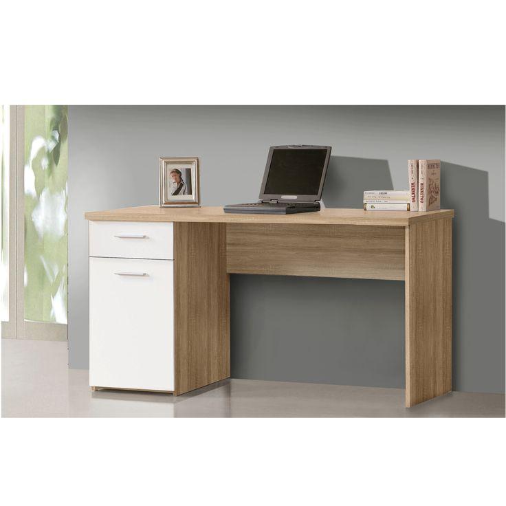 """""""NET106"""" íróasztal, sonoma tölgy/fehér dekor színben, 1 fiókkal és 1 ajtóval. Mérete: 140x76,5x60 cm."""