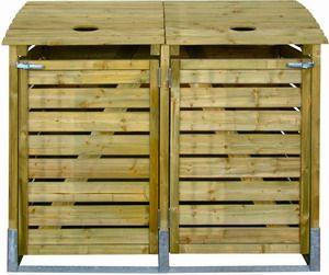 Containerberging kliko ombouw afvalcontainer GFT-bak dubbel voor 2 kliko's van 240 liter geïmpregneerd grenen, staal versterkt inclusief bevestigingsmateriaal, hang- en sluitwerk, FSC gecertificeerd. Met deze mooie kliko ombouw zijn die lelijke groen en grijze afvalcontainers mooi uit het zicht.