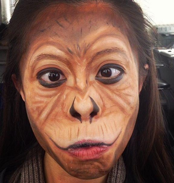 Monkey face makeup - photo#5