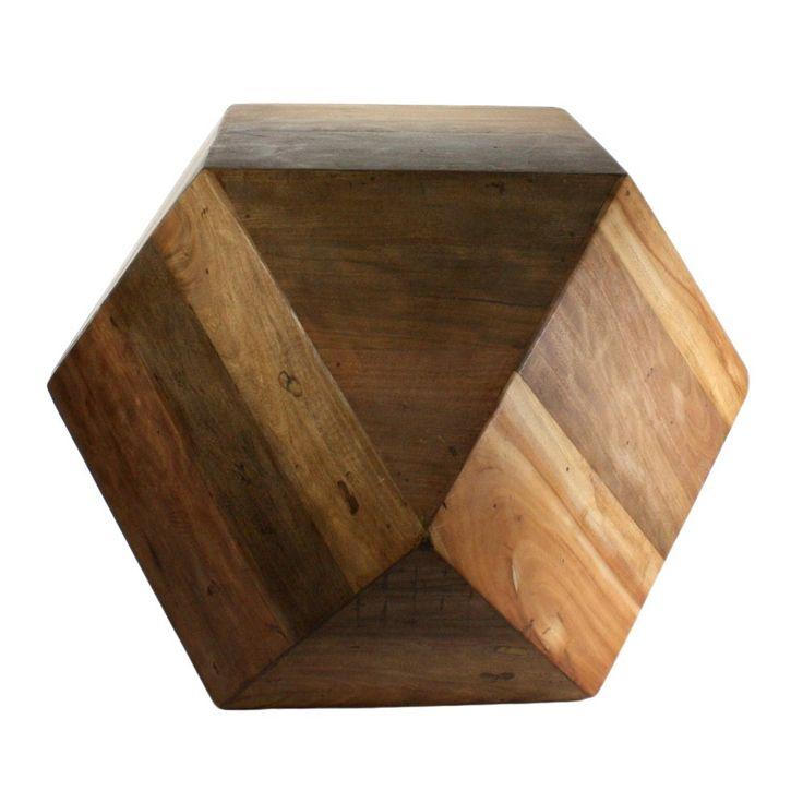 Icosahedron Wood Block End Table