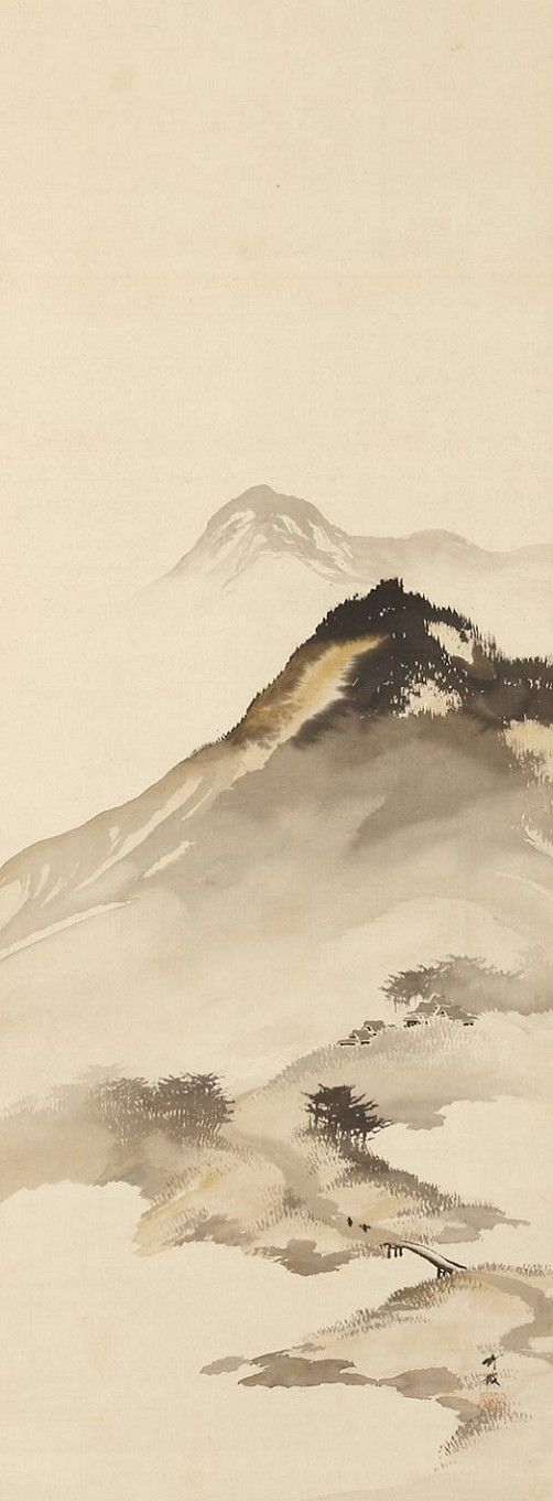 Odake Chikuha, 1878-1936 | Mountain Landscape with Bridge.  Oni Zazen Collection