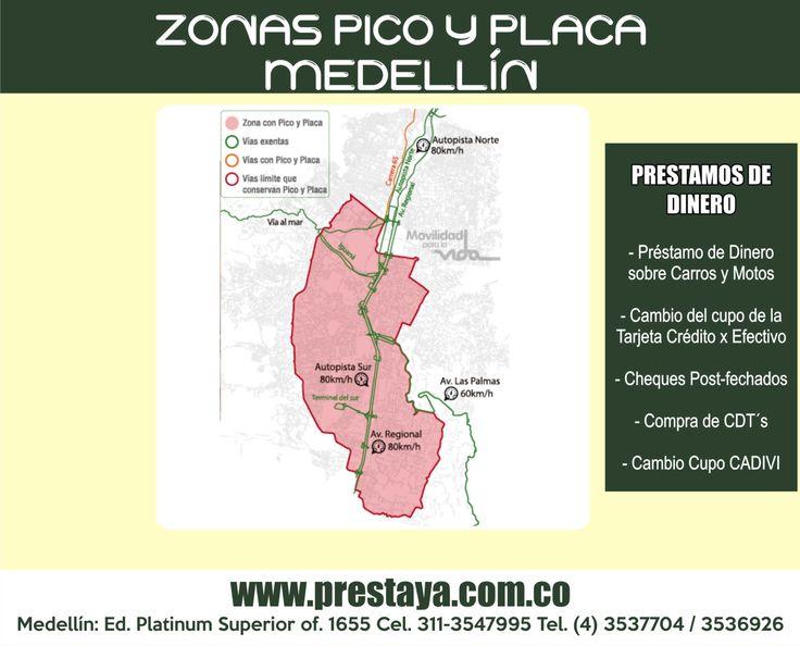 PICO Y PLACA MEDELLÍNPRIMER SEMESTRE 2016 Durante la primera semana de rotación, entre el 1 y el 5 de febrero, la medida será pedagógica. A partir del lunes 8 de febrero de 2016 inicia el periodo sancionatorio. La medida regirá de lunes a viernes para vehículos particulares y motos de dos tiempos, en horario de 7:00 a 8:30 de la mañana y de 5:30 de la tarde a 7:00 de la noche. Prestaya Medellin Prestamos de dinero en vehiculos Cel. 3113547995 3113541661 / Tels. (4)3537704 / (4)3536926…