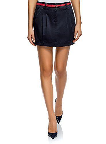 oodji Ultra Mujer Falda Corta de Algodón con Cinturón  cc0524dfd03