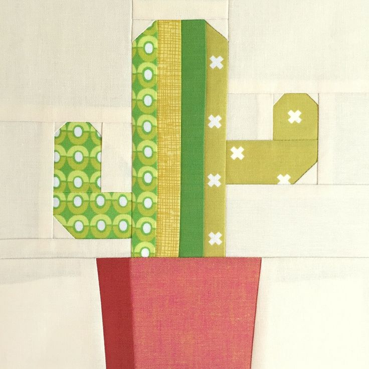 "What a cute ""Saguaro Cactis"" (sic) quilt block by Barbara Cain of Modern Quilting by B."