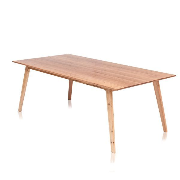 JESSICA DINING TABLE  -Made from solid timber and available in sizes up to 4000mm. Photographed in the 2100 x 1050mm size using Stringybark.   Australian made with a Lifetime Guarantee.  #Rough-sawn #Blackwood #Jarrah #RedGum #Stringybark #TasmanianOak. #TasmanianMade #CustomMade #AustralianMade #Furniture #Design #TimberFurniture