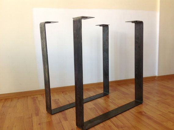 SETSquare Table Leg 28  FLAT RAW Steel Table legs by Balasagun, $160.00