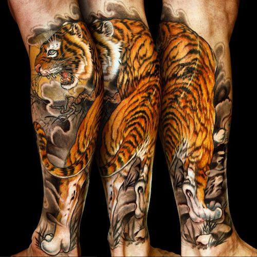 neo japanese tattoo by jess yen inkedmagazine tiger. Black Bedroom Furniture Sets. Home Design Ideas