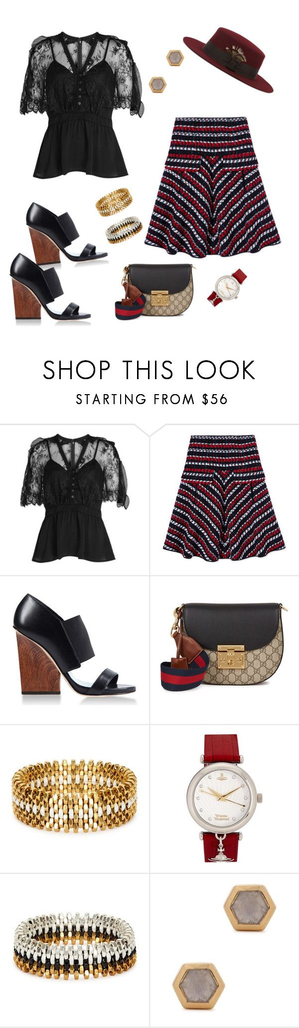 """skirt"" by marlenewelke ❤ liked on Polyvore featuring self-portrait, Oscar de la Renta, Maiyet, Gucci, Alice Menter, Vivienne Westwood, Missoma and Christys'"