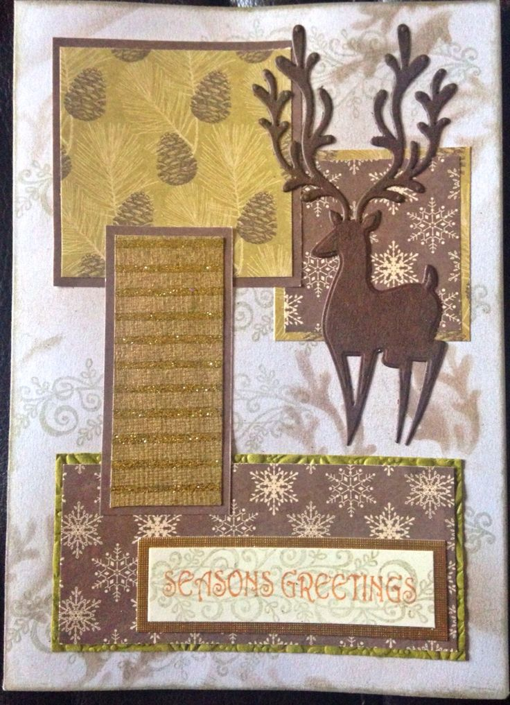#chrismas #reindeer #handmade #card I needed to use up some scrap but it cards so Matt and layered them on brown into layers. And die cut a reindeer.