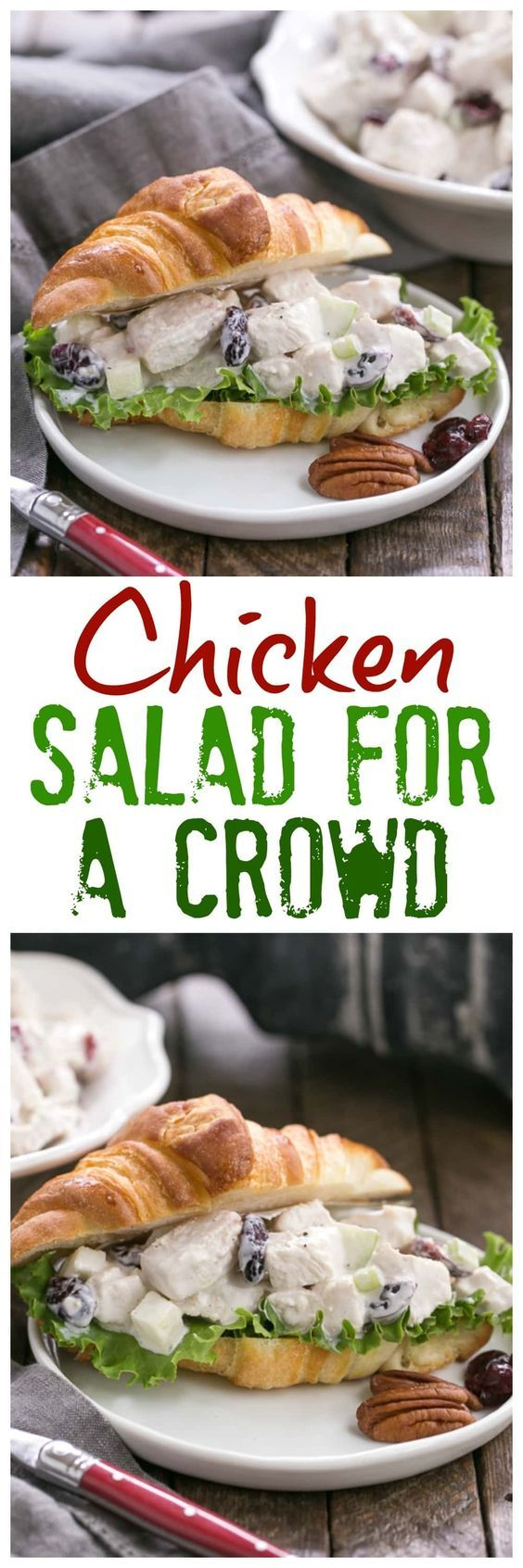 Cranberry Pecan Chicken Salad for a Crowd   Perfect for showers, luncheons and more! @lizzydo