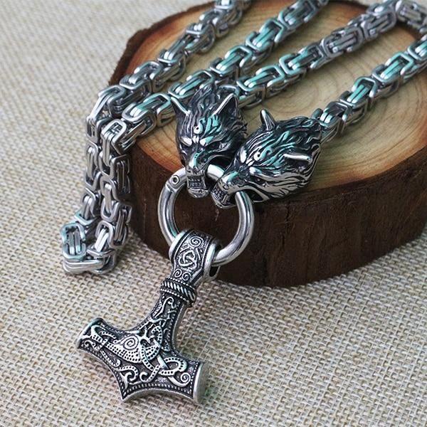 Nordic viking mjolnir stainless steel thor hammer necklace king chain+GIFT BAG