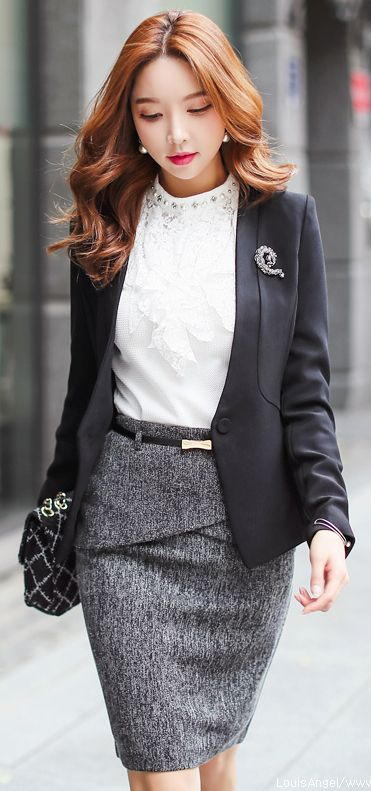 tweed skirt + lace blouse + blazer with brooch