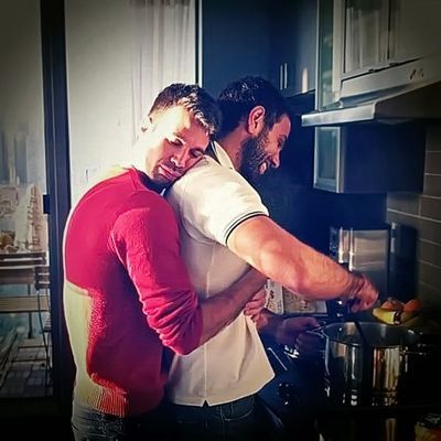Very hot gay men kissing outdoor