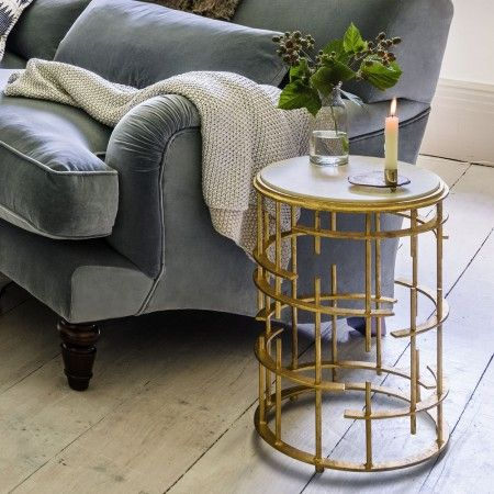 Isidora Round Gold Marble Side Table - Side Tables - Tables - Furniture
