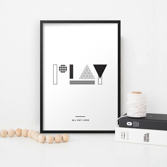Play All Day Long Typographic Nursery Print