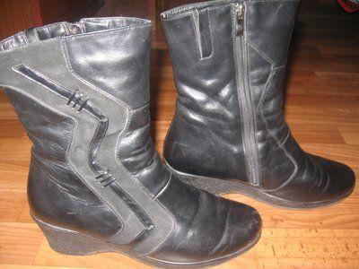 Ботинки зимние женские. 38 размер Черные. Дешево Женские зимние кожаные ботинки на танкетке очень