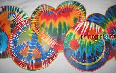 Expressions 70's Tie Dye Cut Hippie Peace Smiley  Flower Power Wallpaper Border