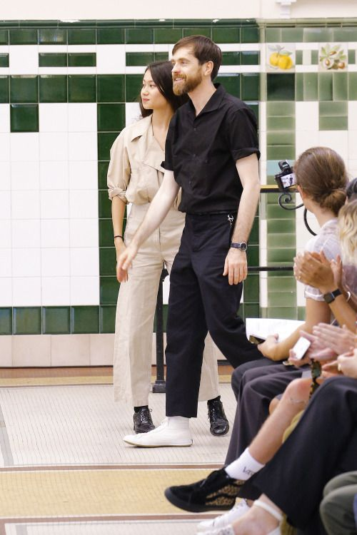 Sarah Linh Tran and Christophe Lemaire at Lemaire Menswear SS17