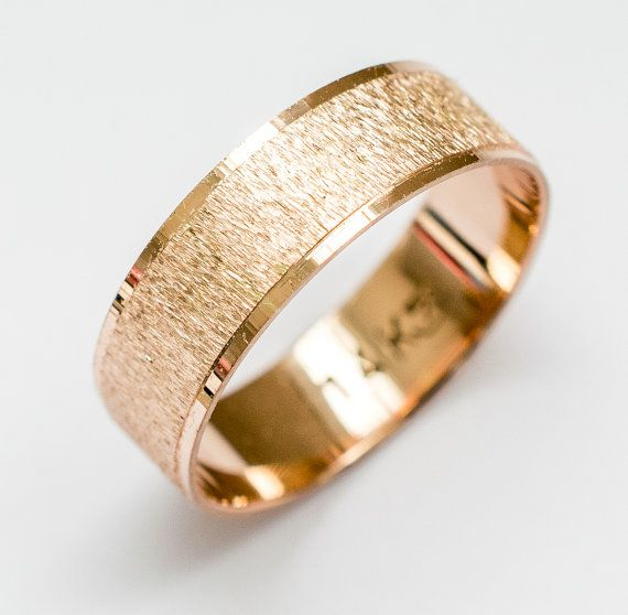 Rose gold Wedding Band women's and men's wedding ring 7mm wide flat with sand roughness finish and shiny stripes