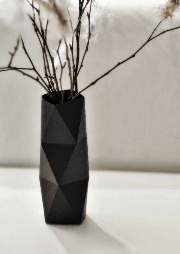 DIY Cómo hacer un jarrón geométrico con cartiluna