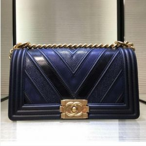 Chanel Navy Boy Chevron Old Medium Flap Bag 3