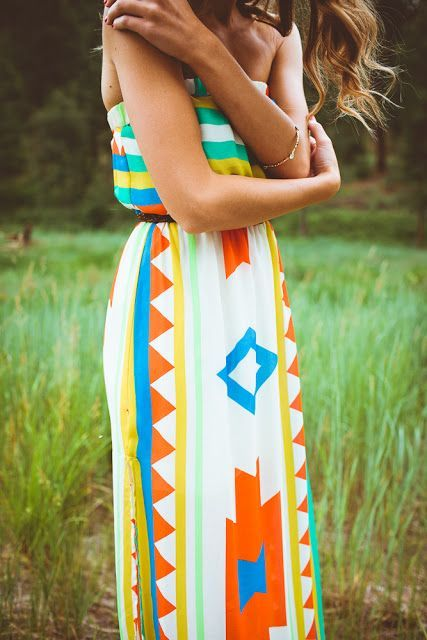 Colorful ladies maxi dress for summers.. Click the pic for more #womenoutfits
