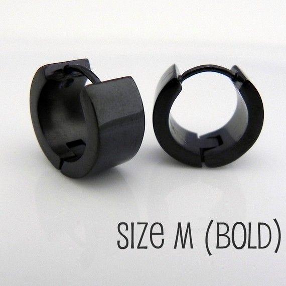 Mens Earrings Jet Black Huggie Hoop - Ear Cartilage Piercing - For Guys Cyber Corp Gothic Punk Rock - Stainless Steel - Medium BOLD no.177