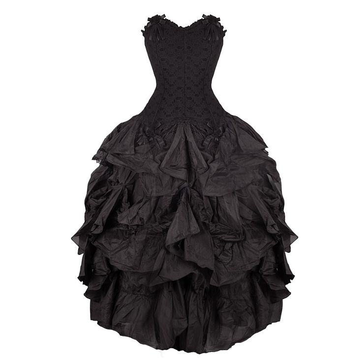 "A black dress with corset boned bodice. There is a lace overlay over the velvet body which creates a beautiful texture. The skirt is hugely ruched giving lots of volume perfect for a formal occasion. To complete the garment are satin ribbon bows.   Chest:36""-38"" /91.4cm - 97cm Waist:28""-32""/71cm - 81.3cm (Elasticated waistband skirt) Skirt length: 38""  Dry clean only."