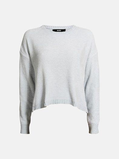 Velour knit pullover. Loose cropped fit.    Vaaleanturkoosi