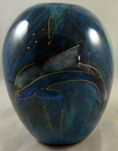 "ANITA HARRIS Beautiful Blue Lustre Dolphins 6"" Delta VASE"