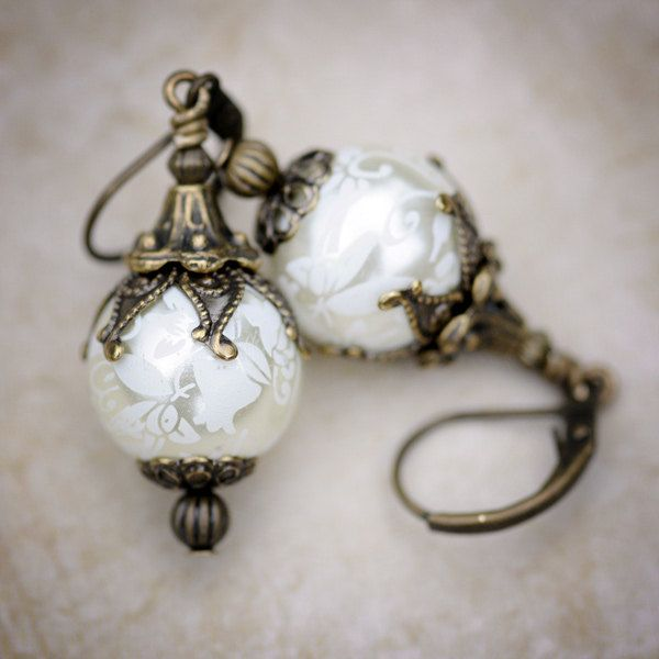 Pearl Earrings with Romantic Scrollwork, Vintage Inspired Jewelry Earrings, Everyday or Special Events: Proms, Weddings, Brides, Bridesmaids. 28.00, via Etsy.