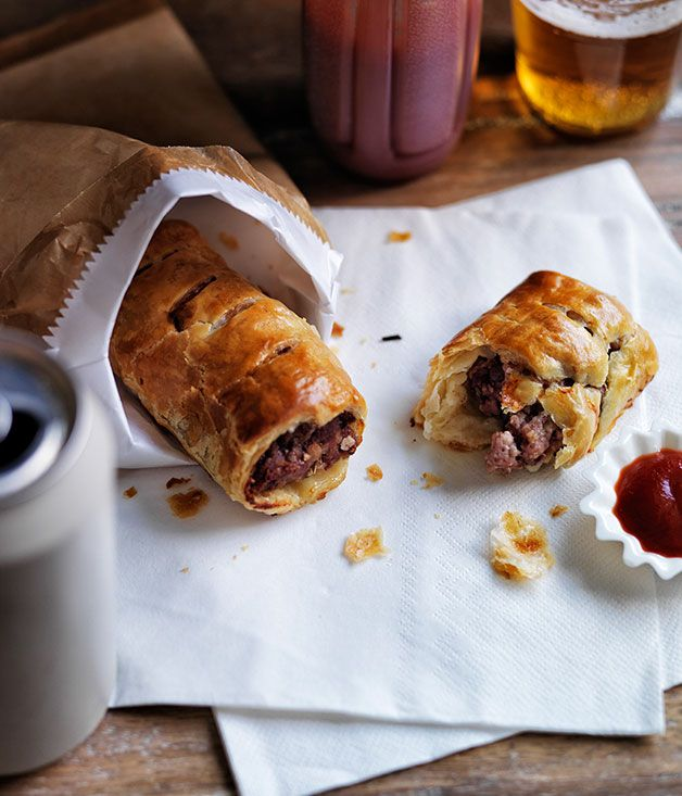 Australian Gourmet Traveller recipe for pork, veal and fennel sausage rolls.