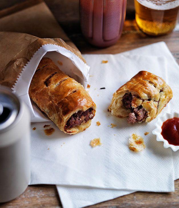 Australian Gourmet Traveller recipe for pork, veal and fennel sausage rolls.