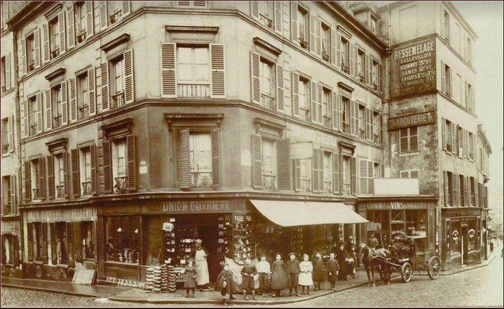 #Paris - La rue de Belleville à l'angle avec la rue Levert, 1906. Immeubles aujourd'hui disparus