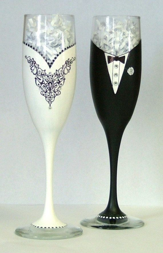 Wedding or Black Tie champagne glasses. $65.00, via Etsy.
