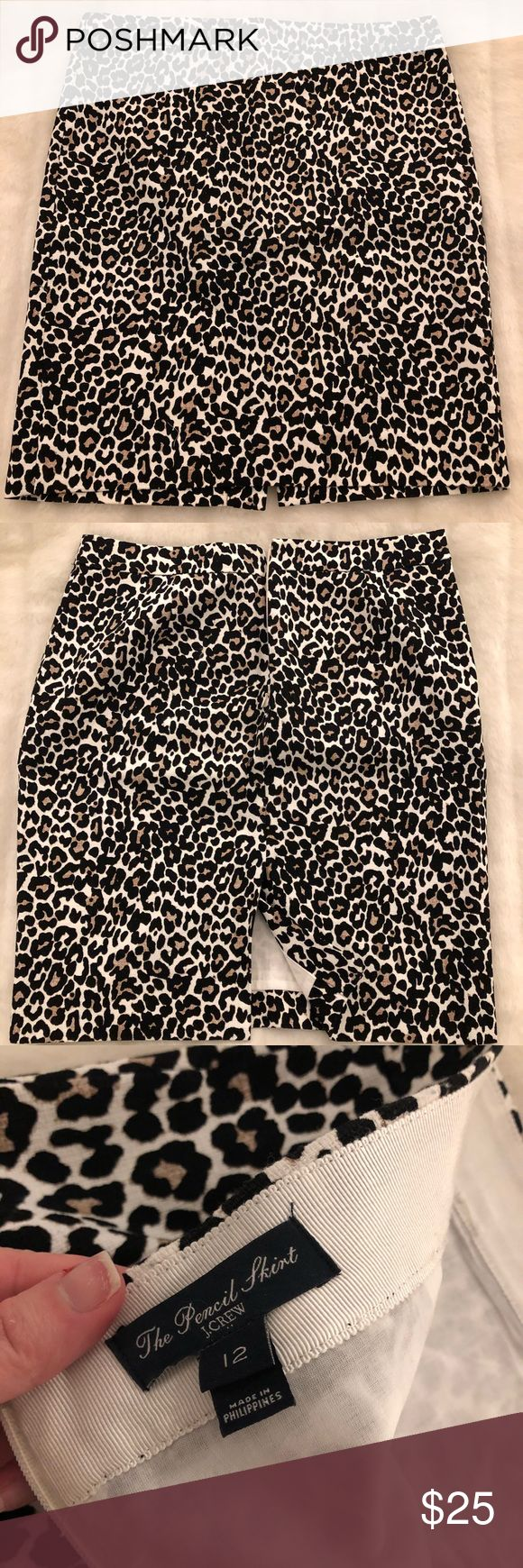 J. Crew leopard pencil skirt Very gently used, only worn one time. SOLD OUT! Versatile, hits just above the knee. This is sized L but runs very small so true size would be an 8-10. J. Crew Factory Skirts Pencil