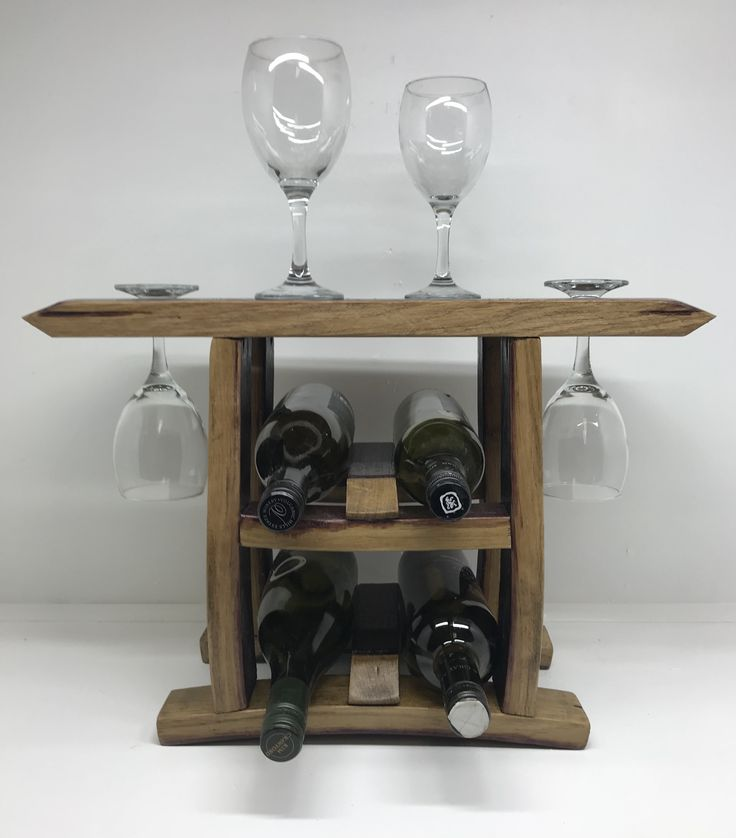 Countertop bottle and wine glass holder made from wine barrels
