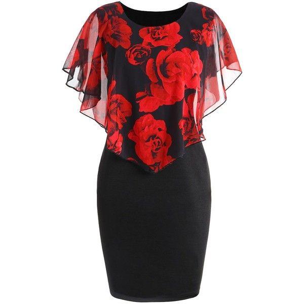 Xl Plus Size Rose Valentine Capelet Dress ($24) ❤ liked on Polyvore featuring dresses, womens plus dresses, rose dress, plus size dresses, rosebud dresses and rosette dress
