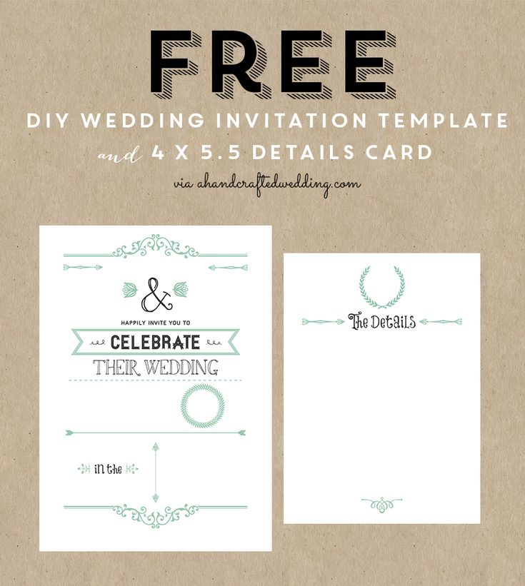 Printable Wedding Invitations: FREE Wedding Invitation Template & Details Card Via