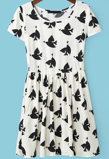White Short Sleeve Birds Print Pleated Dress - Sheinside.com