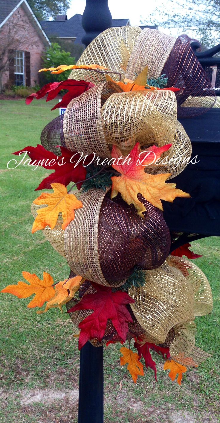 Decorating for fall. Fall mailbox swag Www.facebook.com/jayneswreathdesigns