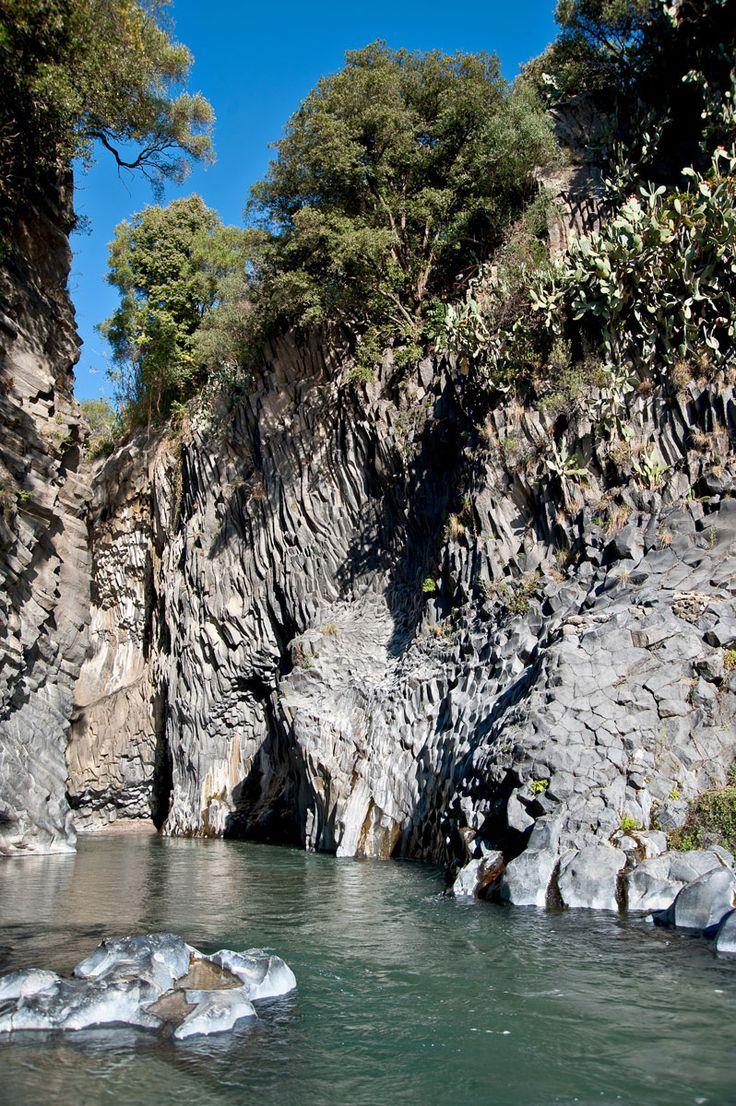 Botanical and Geological Park of Gole Alcantara at 20 km of Taormina, Sicily: in 2015 news paths, rafting, 4D cinema... more info at http://www.golealcantara.com/en/