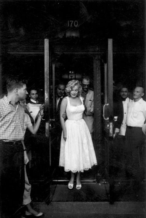 """infinitemarilynmonroe:  """""""" Marilyn Monroe and Arthur Miller leaving the hospital after Marilyn had suffered an ectopic pregnancy, 1957.  """" """""""