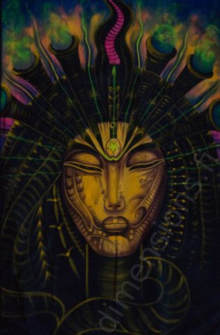Handmade picture of a shaman. Size c. 99 x 152 cm (39 x 60 in). Glows in UV light. http://www.dimensions.fi/products/shaman-large