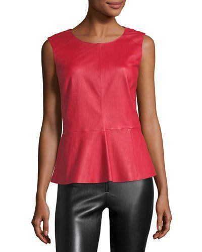 NEIMAN MARCUS SLEEVELESS LEATHER PEPLUM TOP. #neimanmarcus #cloth #