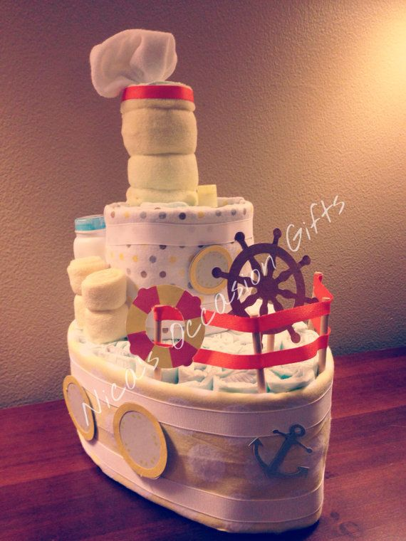 Boat Baby Diaper Cake for Neutral Theme by NicasOccasionGifts